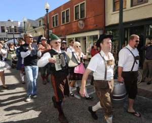 Asheville Octoberfest inaugaral parade and keg tap